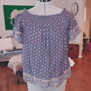 Knox Rose Dusty Blue peasant blouse XS NWT